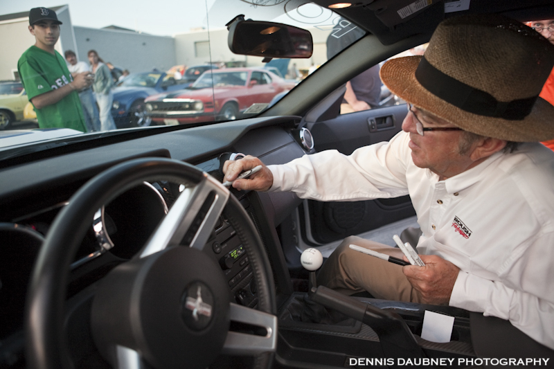 Jack Roush Signs The Dash of a Roush Mustang Owner from Milford, Ma.